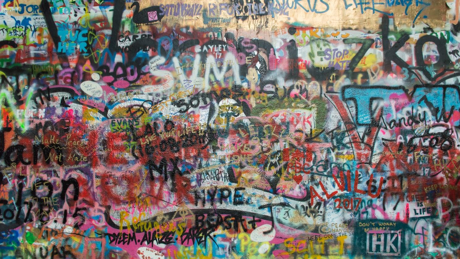 A graffiti covered wall